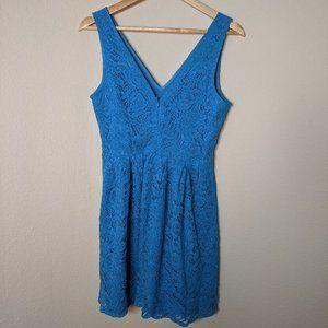 BB Dakota Bright Blue Lace Flowers Mini Dress 6